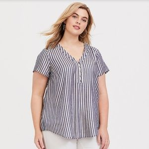 Torrid Striped Top Short Sleeve Button Front NWT